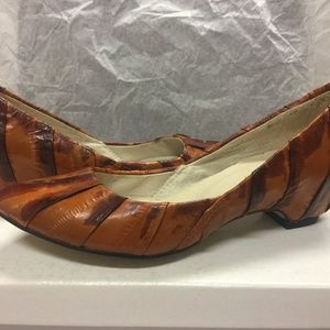 NIB Paolo Iantorno Eel Skin Orange/Brown FLAT 35